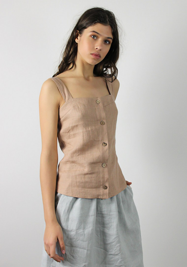 Button front linen cami top Ava 4
