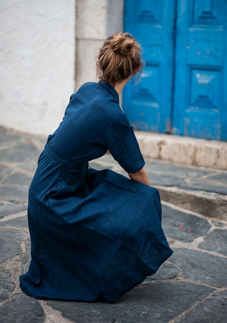 Linen dress Athena in navy blue 7