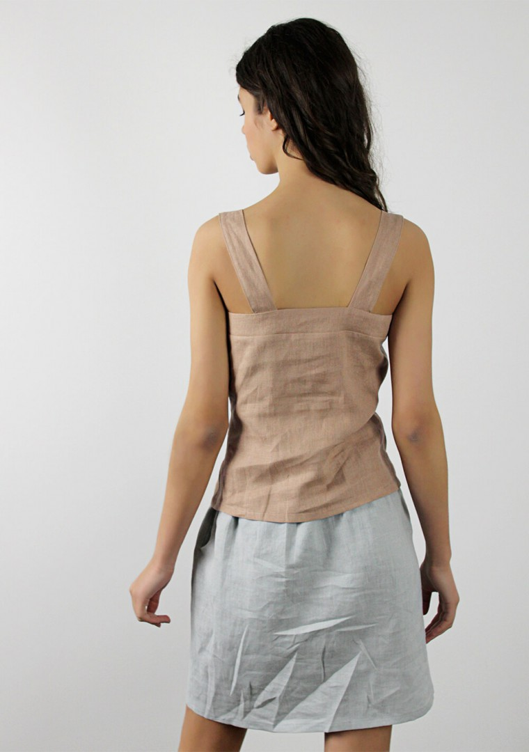 Button front linen cami top Ava 6