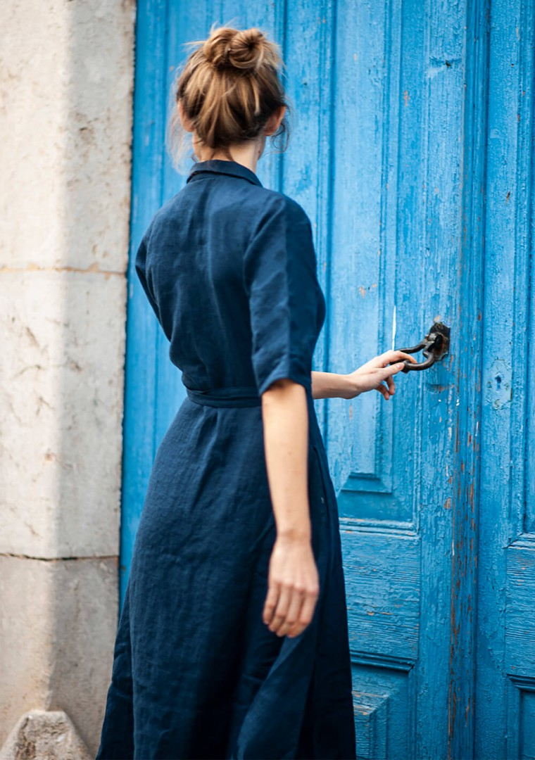 Linen dress Athena in navy blue 9