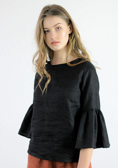Linen frill sleeve top Camilla