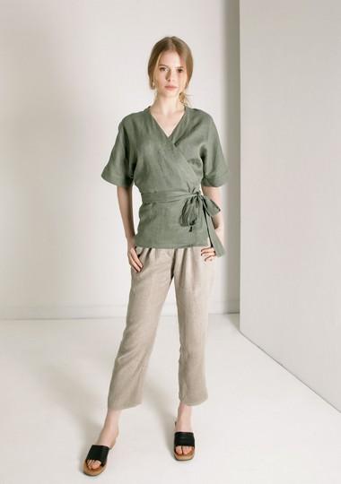 Short sleeve linen wrap top Denise
