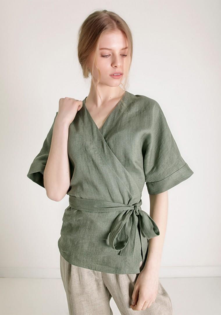 Short sleeve linen wrap top Denise 5