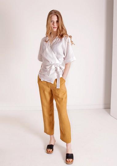 Linen wrap top Denise in optic white