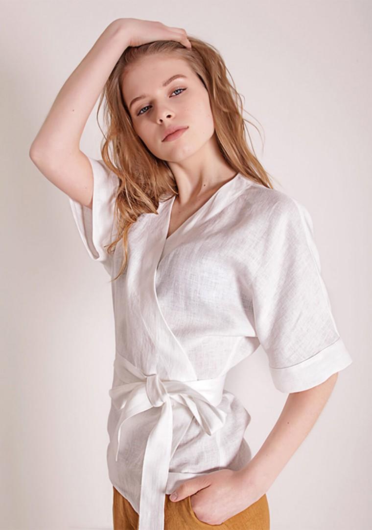 Linen wrap top Denise in optic white 3