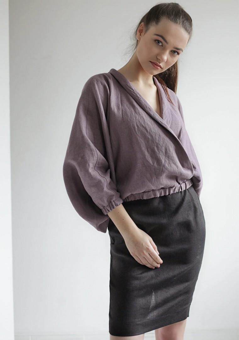 Linen wrap blouse Gloria 3
