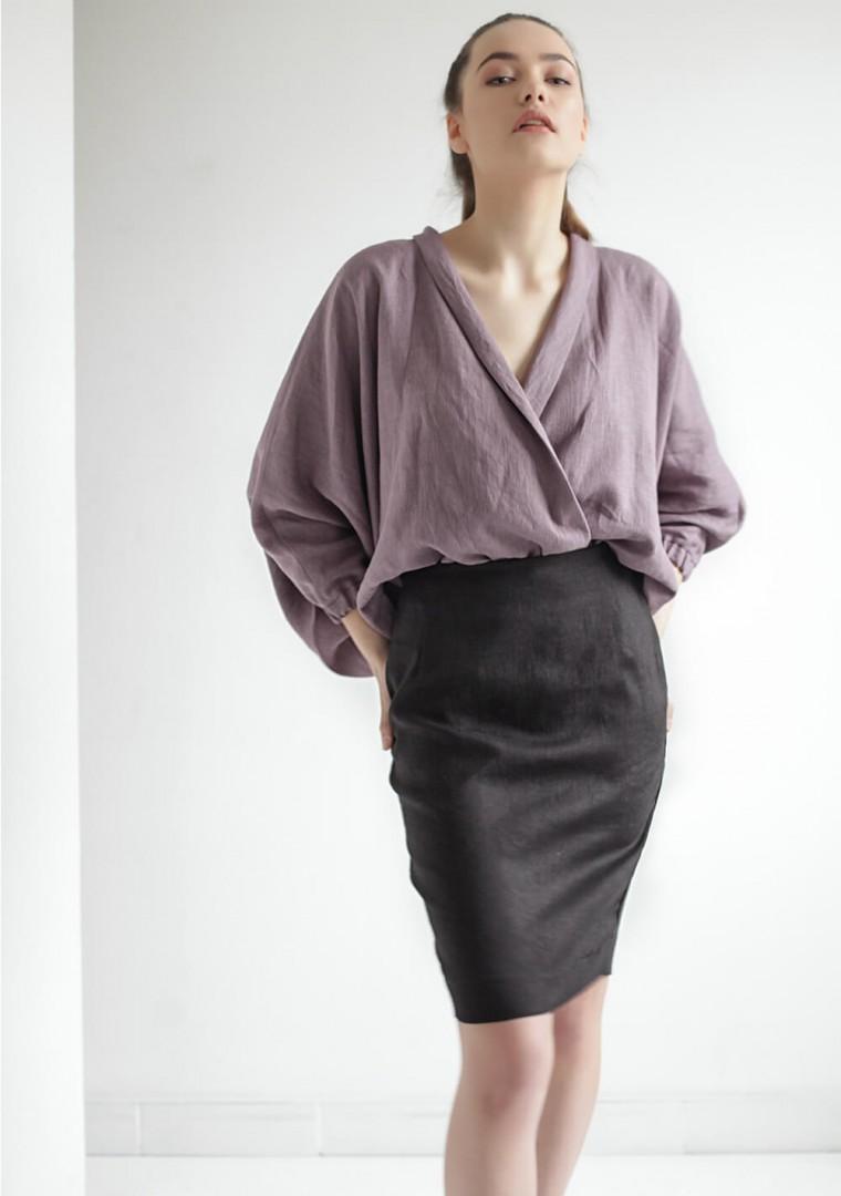 Linen wrap blouse Gloria 4
