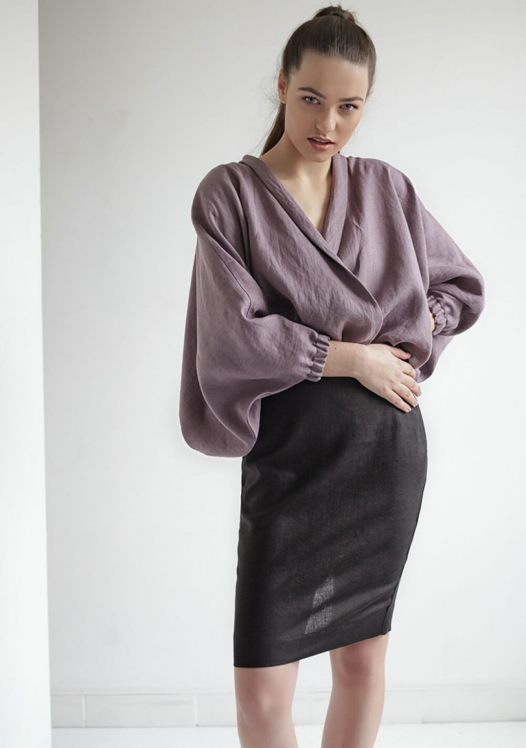 Linen wrap blouse Gloria 1