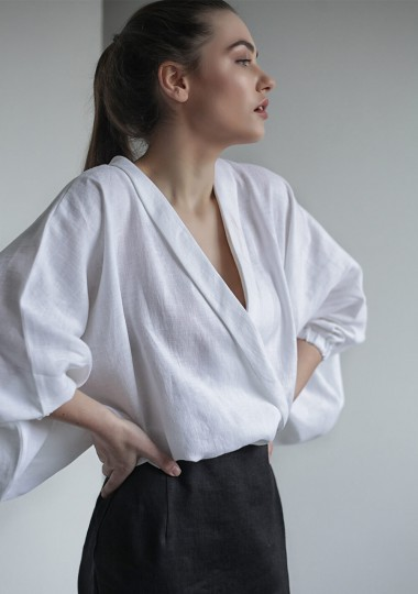 Linen wrap top Gloria in optic white