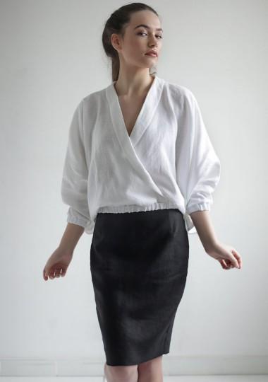 Linen wrap top Gloria in optic white